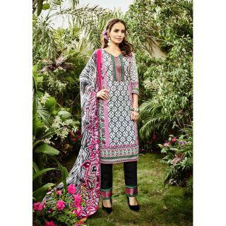 RapidDUkan Un-Stitched White Color Straight Salwar Salwar Suit Dupatta Material SF641