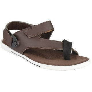 Afrojack Men's Brown Synthetic Leather Sandals