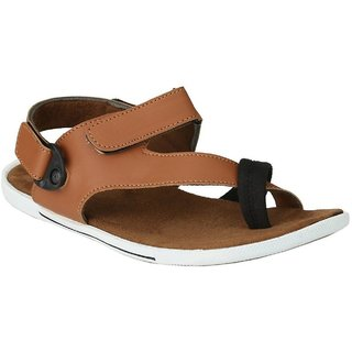 Afrojack Mens Tan Convertible Synthetic Leather Sandals