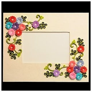 Handmade Frame With Fringe Flowers