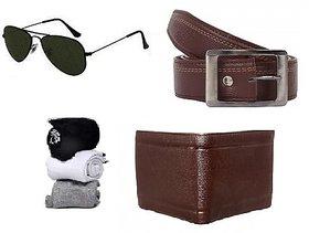 deal Mens belt wallet spectacles 3 pair socks combo