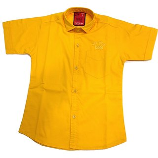 Puppet Nx Plain Yellow Cotton Shirt
