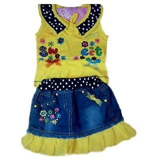 CITY GIRLS YELLOW TOP AND SKIRT(1 TO 2 YEAR GIRLS)