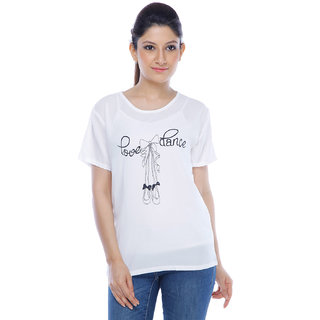 Designeez White Printed Love Dance Chiffon Top