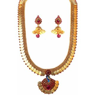Beeline Temple Golden Coin Peacock Pendant  Kemp Necklace set with Earings for Women
