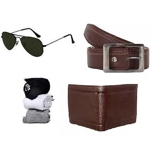 deal Mens belt wallet spectacles 3 pair socks combo (Synthetic leather/Rexine)