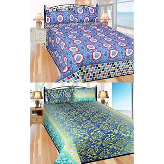 Akash Ganga Cotton Set of 2 Double Bedsheets with 4 Pillow Covers (Superhit Combo)