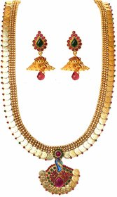 Beeline Temple Golden Coin Peacock Pendant Kemp  Green Stones Necklace set with Earings for Women