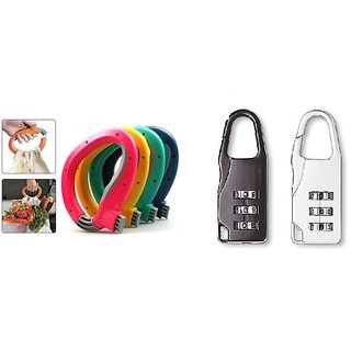 Combo of One Trip Grip Bag Holder and 3 Digit Number Lock (Pack of 2)