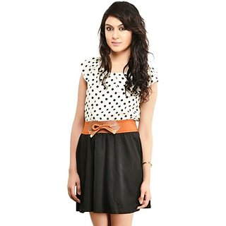 DESIGNEEZ WHITE, BLACK POLKA PRINT SHIFT DRESS