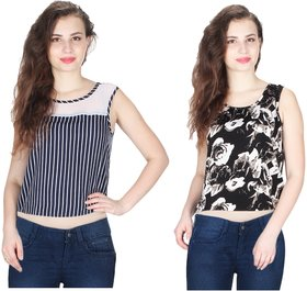 Klick2Style Combo of 2 Net Yoke Lace Floral-Stripe Print Crop Top Blu-Blk