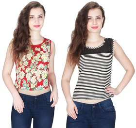 Klick2Style Combo of 2 Net Yoke Lace Floral-Stripe Print Crop Top Red-Blk