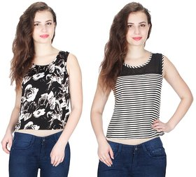 Klick2Style Combo of 2 Net Yoke Lace Floral-Stripe Print Crop Top Blk-Wht