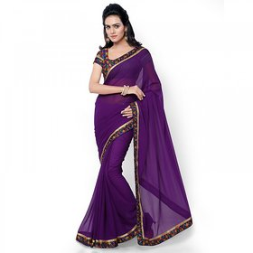 Aaina Purple Georgette Embroidered Saree With Blouse