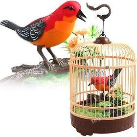 Beautiful Electronic Bird Singing Moving Chirping Toy Pet Bird In Cage