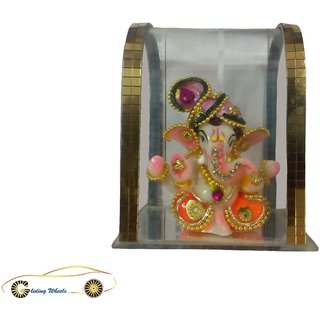Gliding Wheels Multicolour Glass Frame Box Ganesh Ji God Idol for Car Dashboard