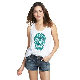 Altamoss Casual Sleeveless Womens Printed White Top