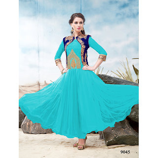 Ladyview Blue Silk,Net Embroidered Anarkali Suit