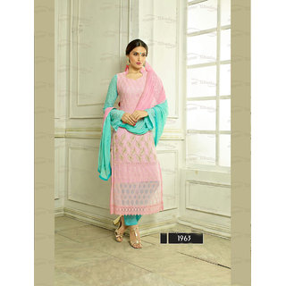 Ladyview Pink Chiffon Embroidered Straight Suit