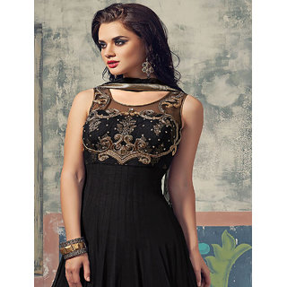 Ladyview Black Net Embroidered Anarkali Suit