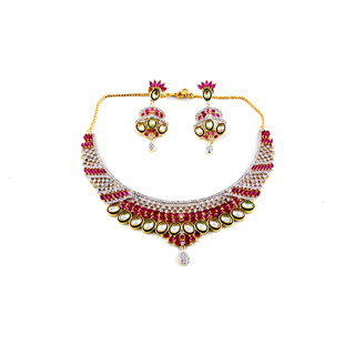 Just Like Real -Beautiful American Diamonds (A.D) Necklace Set With Ruby Stones