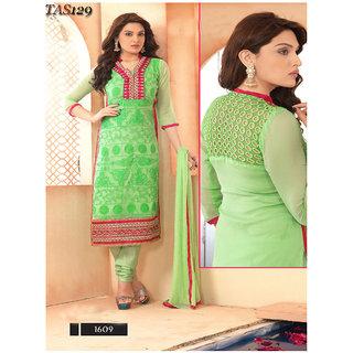 Ladyview Green Chiffon Embroidered Anarkali Suit