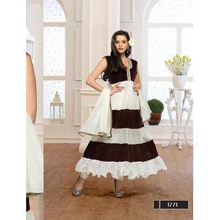 Ladyview White,Brown Net,Brasso,Velvet Embroidered Anarkali Suit
