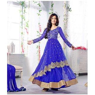 Ladyview Blue Silk,Net,Georgette Embroidered Anarkali Suit