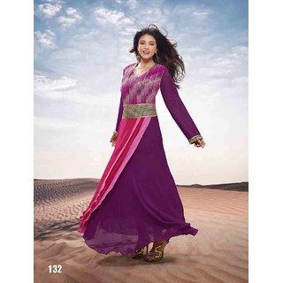 Ladyview Purple Georgette Embroidered Anarkali Suit
