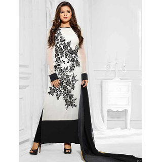 Ladyview White Georgette Embroidered Straight Suit