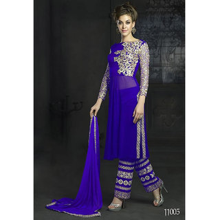 Ladyview Blue Georgette Embroidered Straight Suit