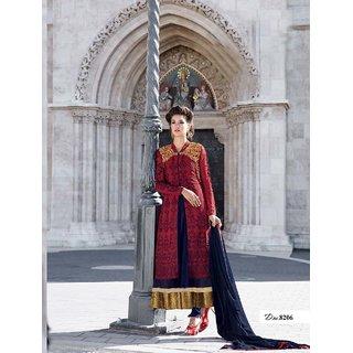 Ladyview Blue,Maroon Georgette Embroidered Anarkali Suit