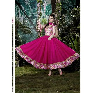 Ladyview Pink Silk Embroidered Anarkali Suit