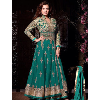 Ladyview Green Net Embroidered Anarkali Suit