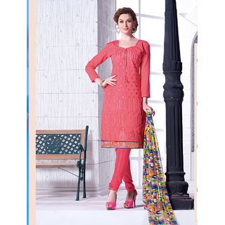 Ladyview Peach Chanderi Embroidered Straight Suit