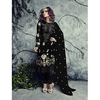 Ladyview Black Georgette Embroidered Straight Suit