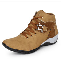BUWCH Mens Tan Lace-up Boots