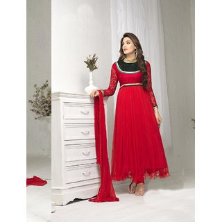 Ladyview Red Silk,Net Embroidered Anarkali Suit