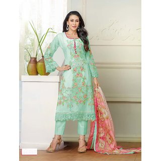 Ladyview Green Georgette Embroidered Straight Suit