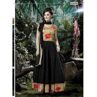 Ladyview Black Silk Embroidered Anarkali Suit