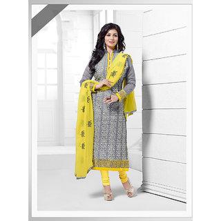 Ladyview Grey Chanderi,Silk Embroidered Straight Suit