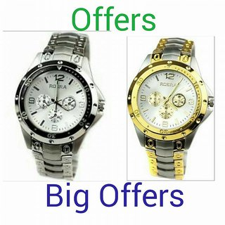 Silver Metal Strap Quartz Watch for Men (Combo)