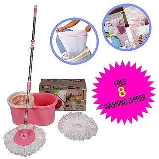 360 Rotating Spin Magic Mop & Bucket (Pink ) With 2 Microfiber Mop Heads And Hand Gloves Set Of 4