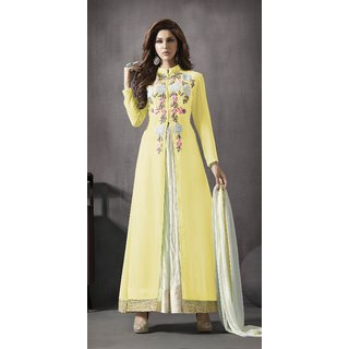 Thankar Yellow  White Embroidered Georgette Anarkali Suit