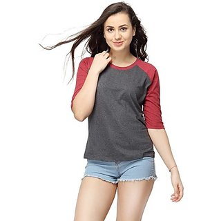 Casual 3/4 Sleeve Solid Womens Maroon Top