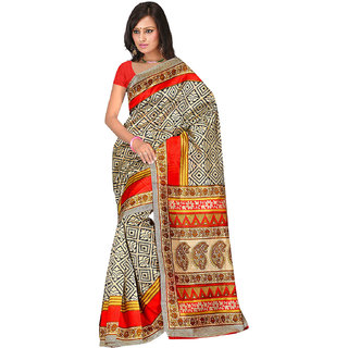 Shopeezo Daily Wear Beige and Multicolor Color Banarasi Cotton Silk Saree/Sari