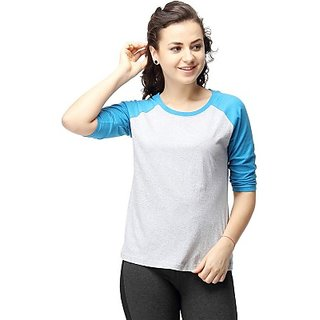 Casual 3/4 Sleeve Solid Womens Dark Blue Top