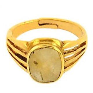 jaipur gemstone 5.00 ratti yellow sapphire(ashtdhatu ring)