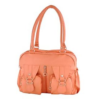 Peach PU Casual Plain Handbag
