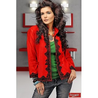 Red Color Winter Jacket For Girls